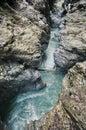 Liechtenstein Gorge - landmark attraction in Austria. Running water and rocks