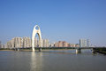 Liede bridge the over the pearl river in blue sky background guangzhou of china Royalty Free Stock Photo