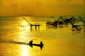 Life asian fisherman and bamboo machinery Royalty Free Stock Photos