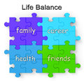 Life Balance Puzzle Shows Family And Friends Stock Image