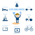 Life balance for well being concept illustration Royalty Free Stock Photo