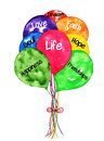 Life balloons bouquet watercolor painting bright colored illustrated with words representing to include dream faith love soul hope Royalty Free Stock Photography