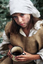 Life of a beggar girl Royalty Free Stock Image