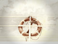 Life belt buoy red rescue ring on a ship against blue sky with clouds Stock Photo
