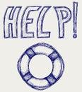 Life belt doodle style vector illustration Stock Images