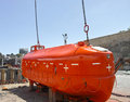 Life boat in a shipyard in spain Royalty Free Stock Photography