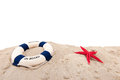 Life buoy at the beach wih welcome on board Stock Photos