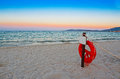 Life buoy at dawn in alghero Royalty Free Stock Photography