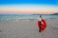 Life buoy at dawn in alghero Royalty Free Stock Photography