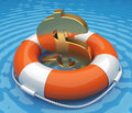 Life buoy with a dollar symbol in the water Royalty Free Stock Photo