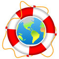 Life buoy with Earth planet isolated vector Royalty Free Stock Photo