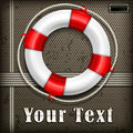 Life buoy on mash with rope background vector illustration Royalty Free Stock Image