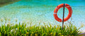 Life buoy in a pool with green plant Stock Photo