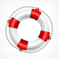 Life buoy on white with rope background vector illustration Stock Photography