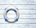 Life buoy wooden paneled wall copy space vector illustration Stock Photography