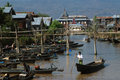 Daily life in canal near inle lake myanmar february local people transportation on boat going through a water the floating on the Stock Images