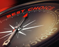 Life choices and decision help compass with needle pointing the text best choice red black tones conceptual image suitable for Royalty Free Stock Photography