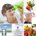 Life collage healthy lifestyle theme composed of different images Stock Image