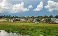 From the life of the county town borovsk ancient little with churches on banks river Stock Photo