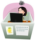 Life in the cube woman illustration of a cartoon office employee lifestyle working frustrated a boring job slump time and inside Stock Images