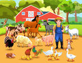 Life on the farm lots of animals and a farmer living together in harmony Stock Photography