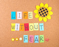 Life fear conceptual words decoration cork Royalty Free Stock Photography
