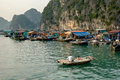 Life in floating village in Ha Long Bay Royalty Free Stock Photo