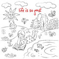 Life is so good hand drawn sketch had illustration with girl decorative background Royalty Free Stock Photography