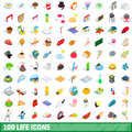 100 life icons set, isometric 3d style