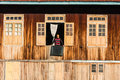 Life inle lake in myanmar burmar burmese at the window Royalty Free Stock Image