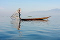 Life at inle lake myanmar february fisherman catches fish for food on february on intha people possess the leg rowing Stock Image