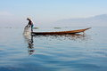 Life at inle lake myanmar february fisherman catches fish for food on february on intha people possess the leg rowing Stock Photo