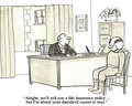 Life insurance and daredevil behavior business cartoon about the has to change his way if he wants Stock Image