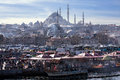 Daily life in Istanbul and Suleymaniye Mosque Royalty Free Stock Photo
