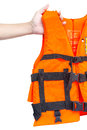 Life jacket with hand on white background Royalty Free Stock Images