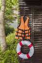Life jacket and life bouy image of a Stock Photos