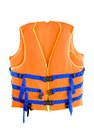 Life jacket orange with isolated white background Stock Photo