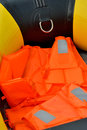 Life jacket of rubber boat inside a light shown as marine sport and entertainment Royalty Free Stock Photography
