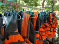Life jackets hanging on clothesline Stock Image