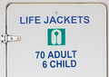 Life jackets sign on closet door a a holding Stock Photo