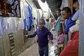 Daily life of kenyan blind child in slum nairobi kenya capital the east the city learns a boy to walk alone a narrow corridor Royalty Free Stock Photography