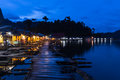 Life on the lake night scene at resort in of ratchaphrapa dam khao sok suratthani thailand Stock Photography