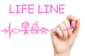 Life line pink marker on white background Royalty Free Stock Photography