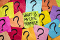 Life meaning concept and purpose what is my question handwriting on colorful sticky notes Stock Photography