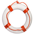 Life preserver with red rope Royalty Free Stock Photo