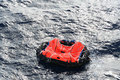 Life raft adrift Royalty Free Stock Photo