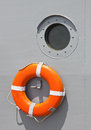 Life ring boat hangs on the wall for emergencies Royalty Free Stock Image