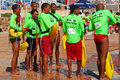 Life savers at ironkids a group of water lifeguards preparing for the int sport event pritt aquathlon port elizabeth south africa Royalty Free Stock Image