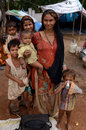 Life on the street woman and group of children living in poverty in hariyana india Stock Photo