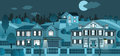 Life in the suburb night vector illustration of Royalty Free Stock Images